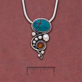 Tibetan Turquoise and Amber Pendant