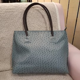 Vegan Ostrich Leather Tote - Aqua