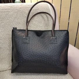 Vegan Ostrich Leather Tote - Black