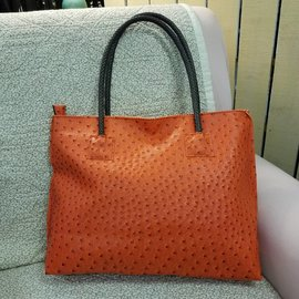 Vegan Ostrich Leather Tote - Persimmon