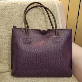 Vegan Ostrich Leather Tote - Purple