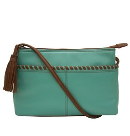 ILI New York Ili New York Whipstitch cross bag turquoise & tan
