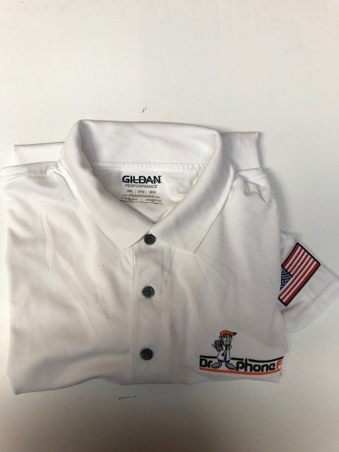 DPF Men Polo Shirts with Flag (2XL) White