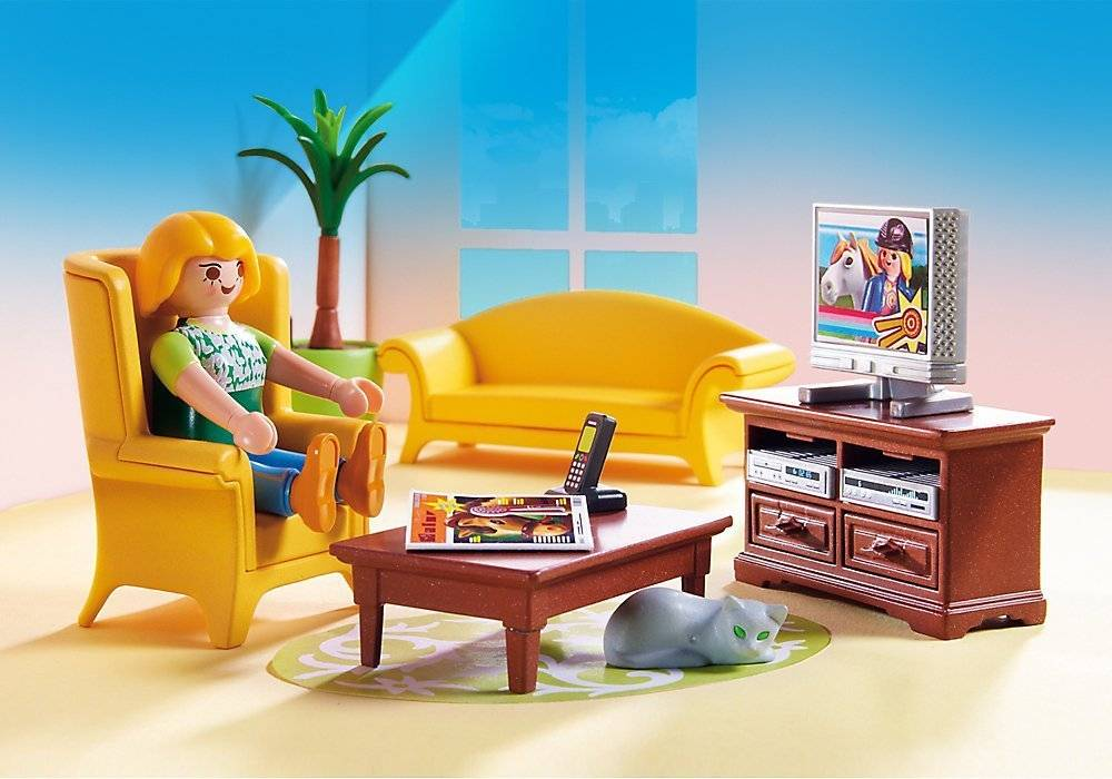 Playmobil doll house living room with fireplace minds for Playmobil living room 4282