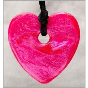 Teething Bling Teething Bling Pendant Heart Shimmer Raspberry