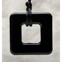 Teething Bling Teething Bling Pendant Square Onyx