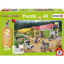 Schleich Puzzle & Figure 40pc Day at the Farm