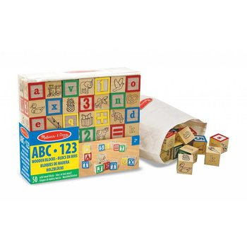 Melissa & Doug Wooden ABC-123 Blocks 50pcs