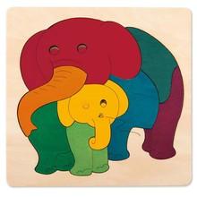 Hape Toys Hape Puzzle Single Layer George Luck 9PC Elephant