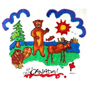 Artburn Artburn Pillowcase This is Canada! Moose, Beaver, Bear