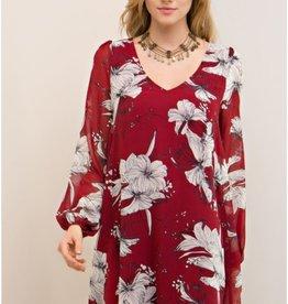 Burgundy hibiscus print
