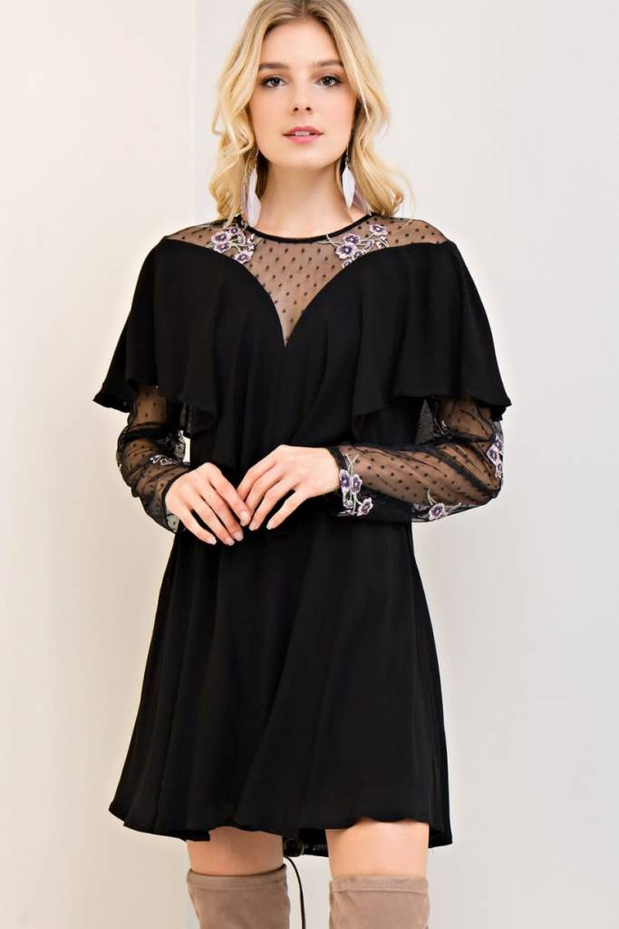 Entro Black lace w embroidery