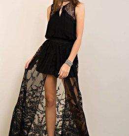 long black lace skirt