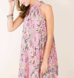 Entro pink paisley shift dress