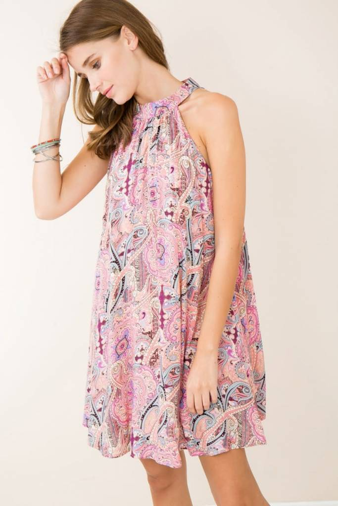 Entro pink paisley shift dress