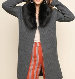 Umgee long slv cardi w fur collar
