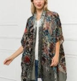 Mystree Velevet burn out kimono