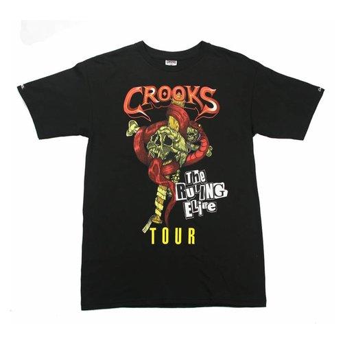 CROOKS & CASTLES KNIT CREW T-SHIRT WORLD TOUR