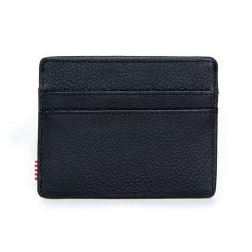 HERSCHEL SUPPLY CO CHARLIE LEATHER BLK PEBBLED