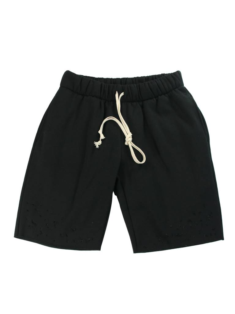 EPTM. DISTRESSED FLEECE SHORTS BLACK