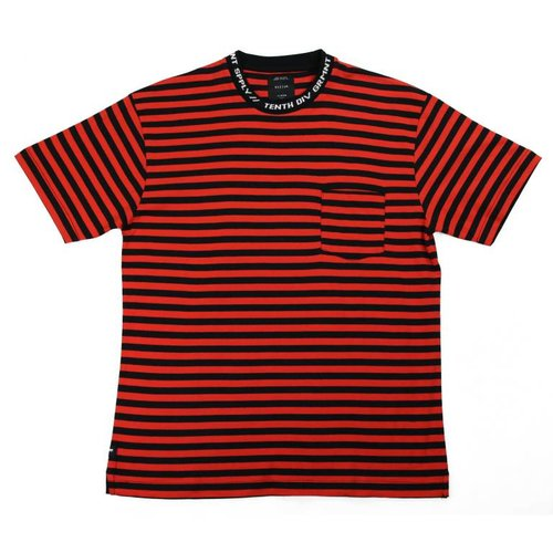 10 DEEP FOREIGNER STRIPED TEE RED