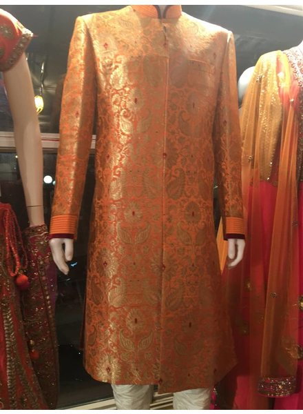 Bridal Sherwani in Orange Brocade w/ Maroon Velvet Pipping