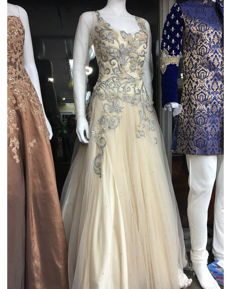 Bridal Cream Gown with crystal and flower details