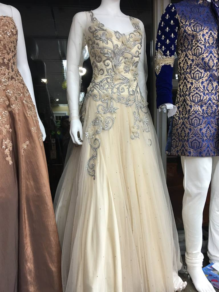Bridal Cream Gown with crystal and flower details - Chandan Fashion
