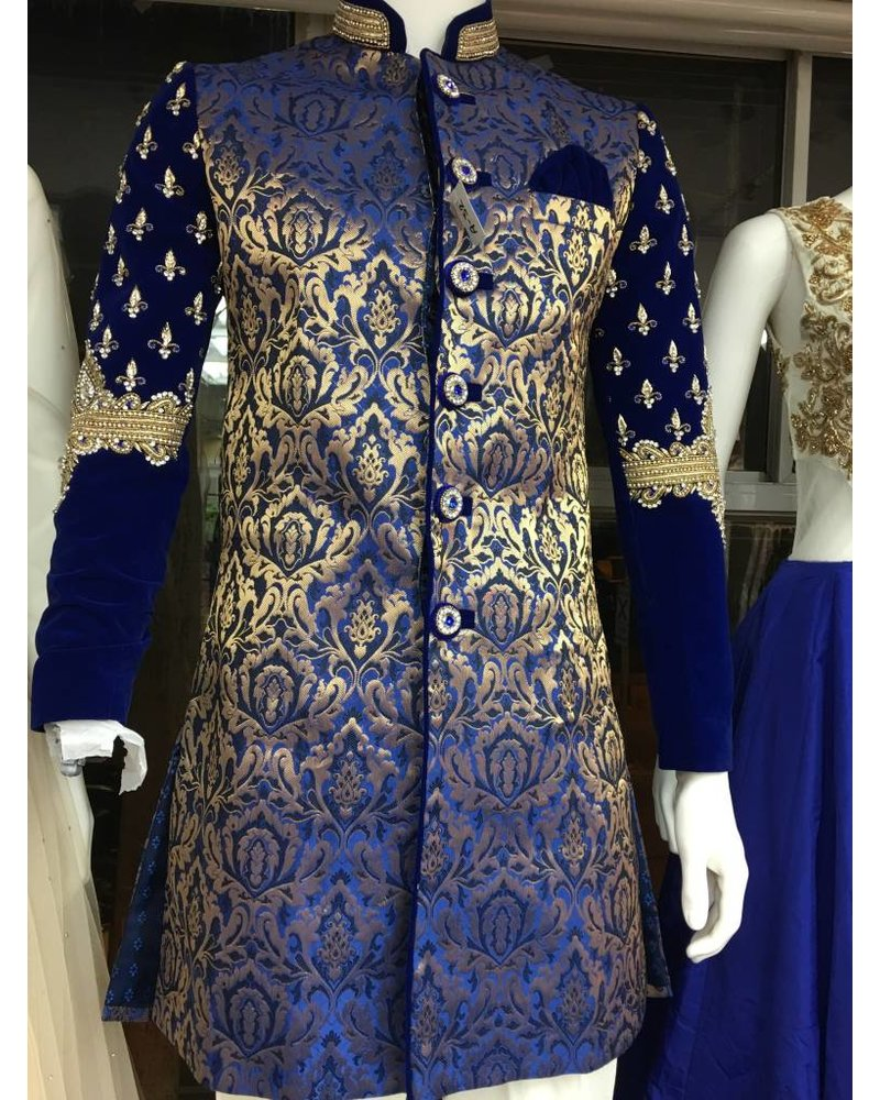 Bridal Sherwani w/ Blue Brocade Silk and Velvet Arms w/ Embroidery