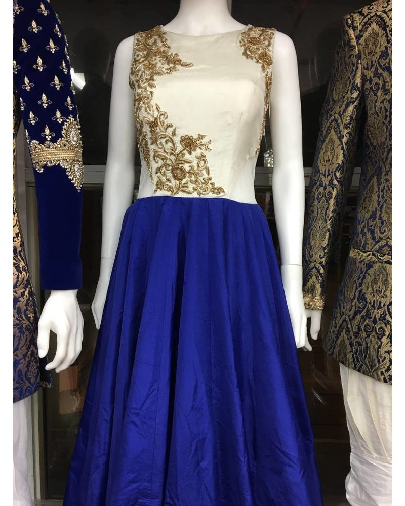 Bridal Gown in Blue and White w/ Cut Out Sides
