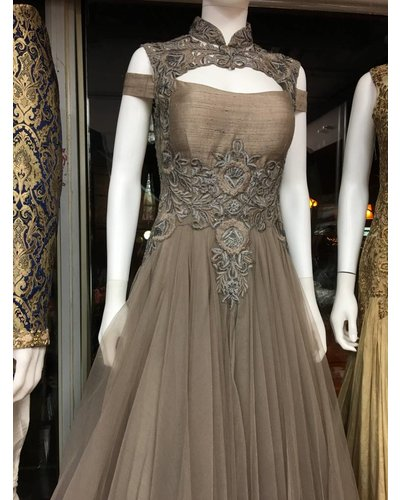 Bridal Gown in Grey with Off Shoulders and Matching Crystal