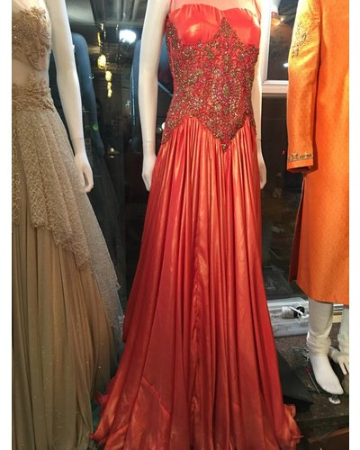 Bridal Coral Gown with crystal work on Shimmer Base