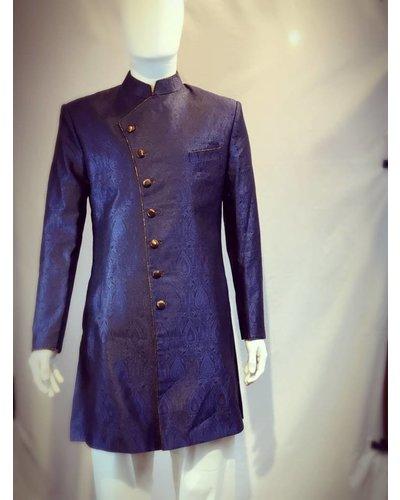 Party Wear Navy Blue Sherwani on Brocade Silk