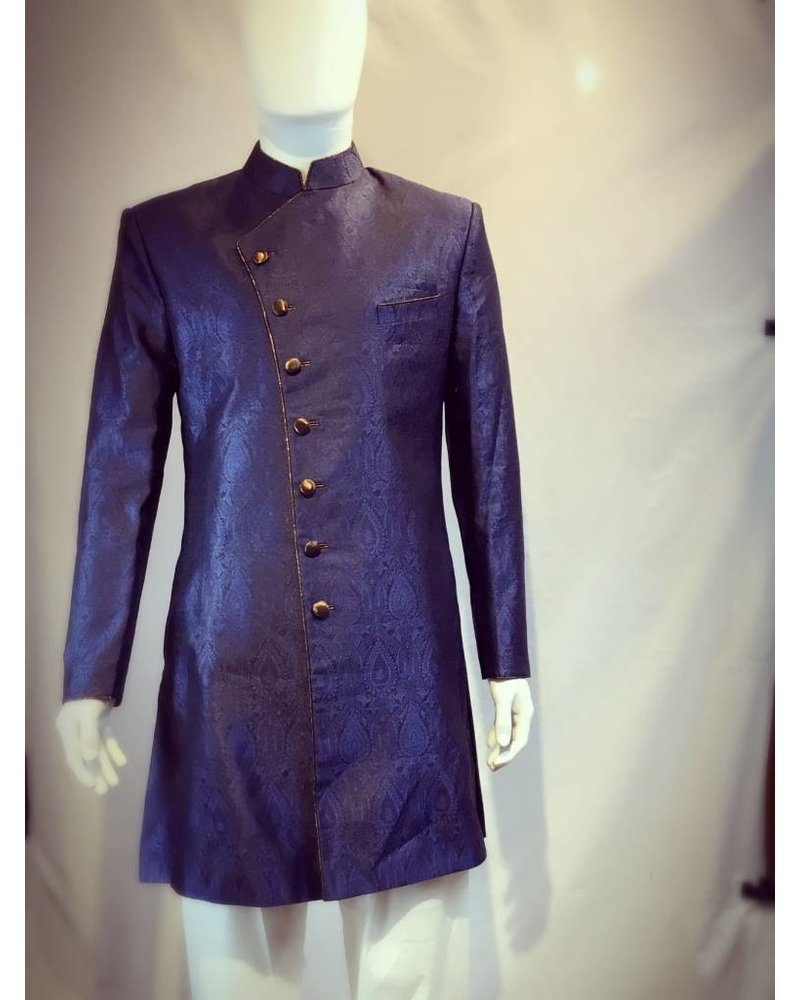 Party Wear Navy Blue Sherwani on Brocade Silk