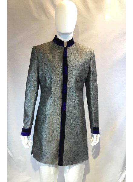 Party Wear Grey Sherwani on Brocade silk