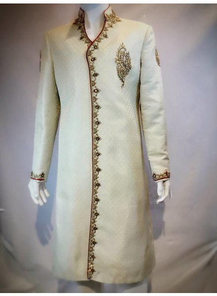 Bridal Gold Sherwani w/ Zardozi and Crystal on Brocade
