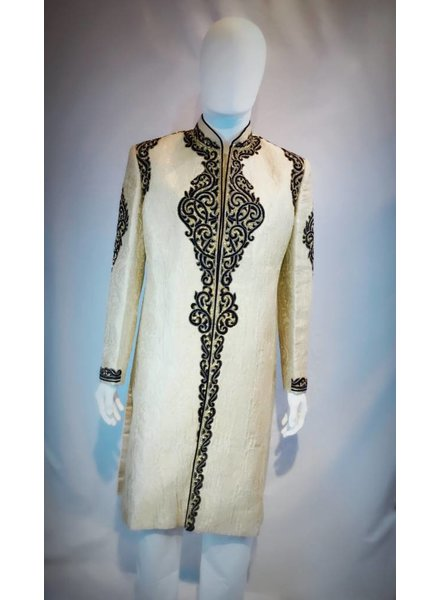 Bridal Gold Sherwani w/ Navy Blue Applique and Crystal on Brocade