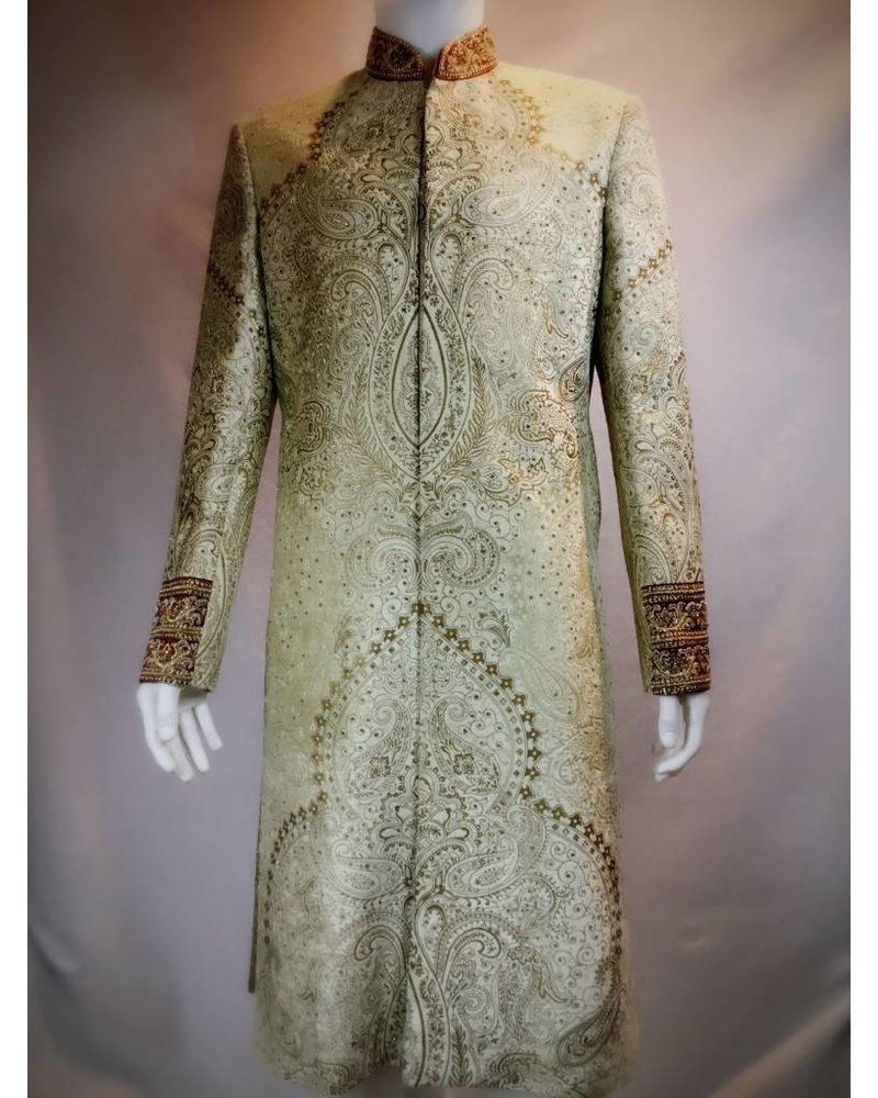 Bridal Wear Gold and Red Sherwani w/z zardozi and Crystals on Micro -Velvet
