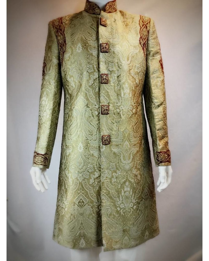 Bridal Antique and Red Sherwani w/Resham thread and Crystals on Brocade silk