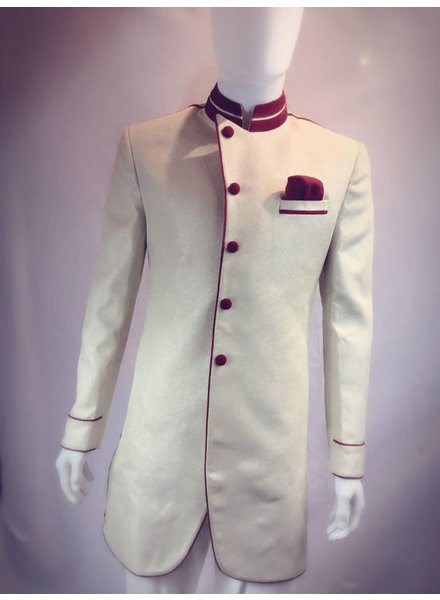 Party Wear Cream Sherwani w/ Red Accents on Brocade