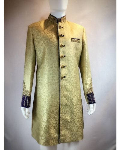 Bridal Gold and Royal blue Sherwani w/ Zardozi and Crystals on Brocade silk