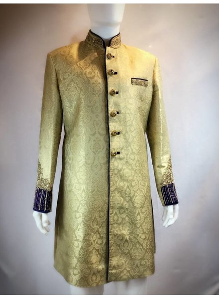 Bridal Gold and Royal blue Sherwani w/ Zardozi and Crystals on Brocade silk
