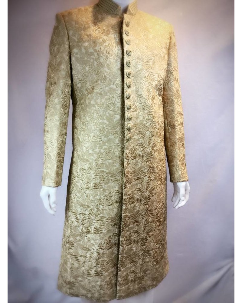 Bridal Gold Sherwani w/ Threadwork on Silk