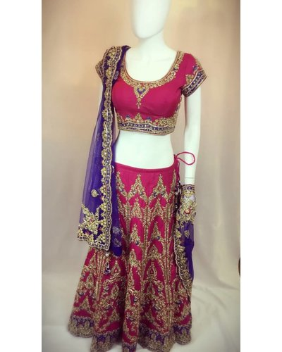 Bridal Pink and Blue lengha w/Nalki and LCT Crystals on Pure Silk