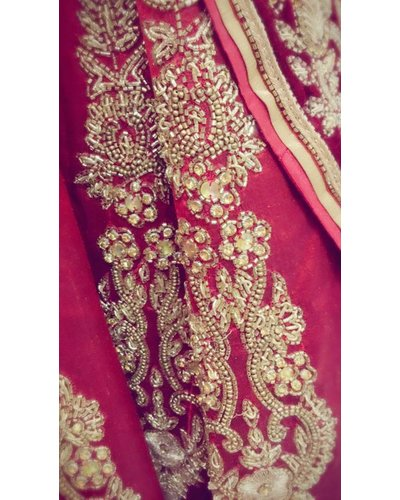 Bridal Mahroon Lehenga w/Nalki, LCT Crystals and Mirror Work on Pure Silk