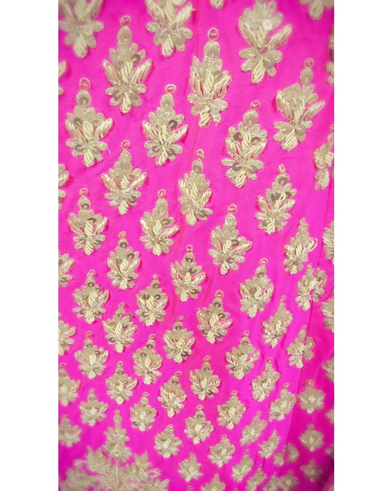 Bridal Pink Lehenga w/ Aari Work and Sequence on Pure Silk