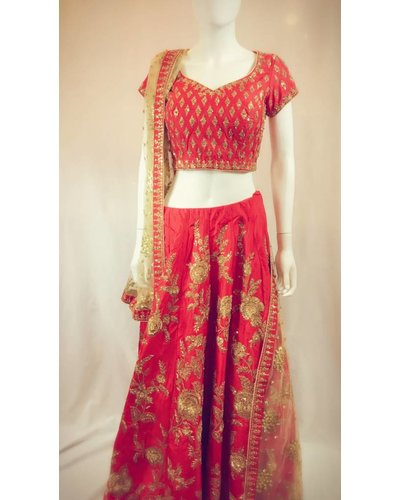 Bridal Red and Gold Lehenga w/ Aari and Sequence on Pure Silk