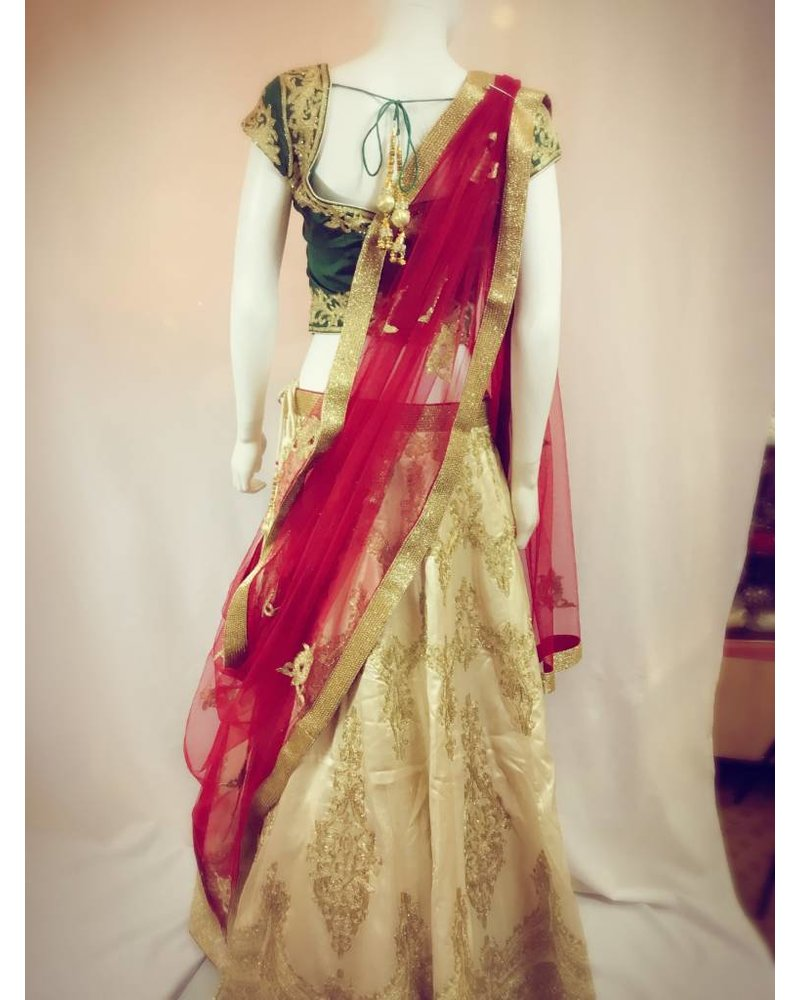Bridal Gold, Red and Green Lehenga