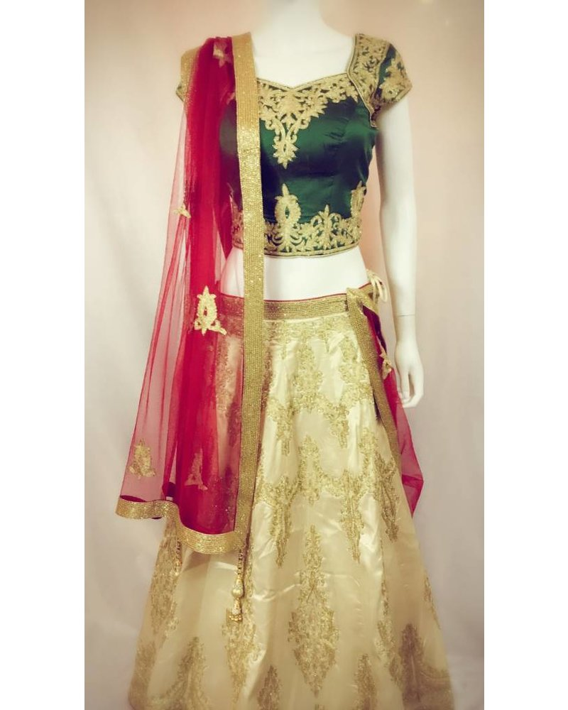 gold fashion and bridal chandan set green