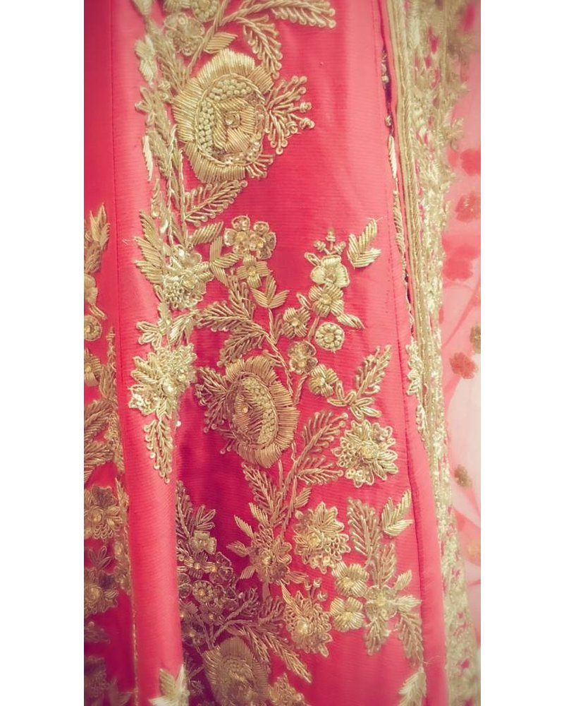 Bridal Red Lehenga with French knots